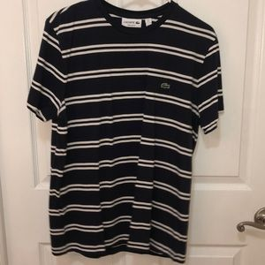 Blue and white stripped Lacoste t shirt